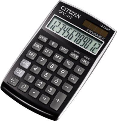 Citizen Taschenrechner CPC, 12-stellige LCD-Anzeige, Batterie- und Solarbetrieb, schwarz