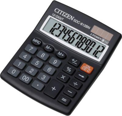 Citizen Taschenrechner SDC 812BN semi, 12-stellige LCD-Anzeige, Batterie und Solar