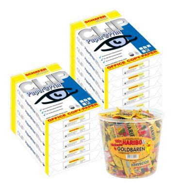 CLIP Paper@Print Kopieerpapier, A4, 2 dozen (10 x 500 vel) + Haribo snoepjes gratis