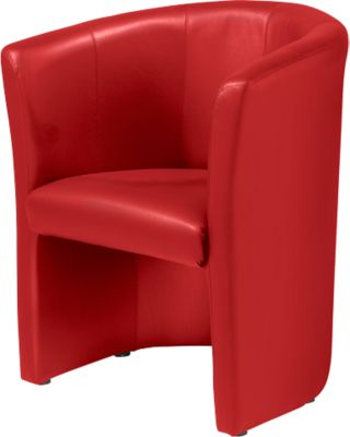 Club Fauteuil, lederlook, rood