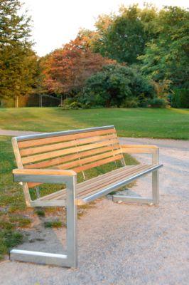 Cochem bank, 4 zetels, roestvrij staal glanzend en Robinia hout, 4 zitplaatsen