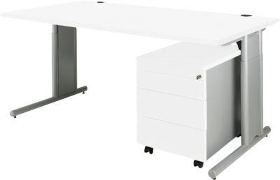 COMBITEC Schreibtisch 1600 mm + Rollcontainer 1233 SET, weiß/weißalu