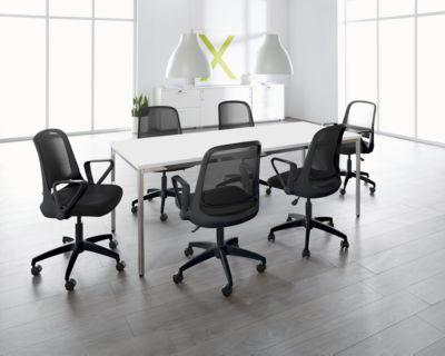 Complete aanbieding: 1 vergadertafel 2000 x 800 mm, wit + 6 bezoekersstoelen met wieltjes en armleuningen, zwart