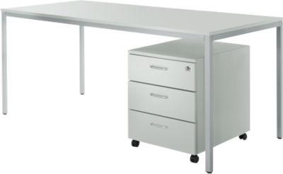 Complete aanbieding bureautafel + rolly, lichtgrijs/wit-alu.