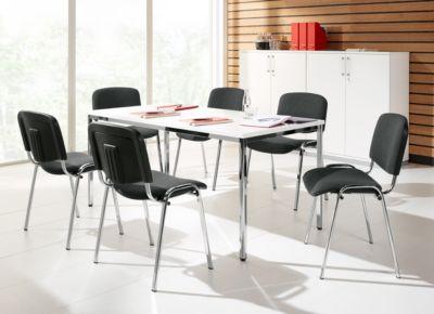 Complete aanbieding conferentietafel + 6 stoelen ISO BASIC, tafel b 1600 mm