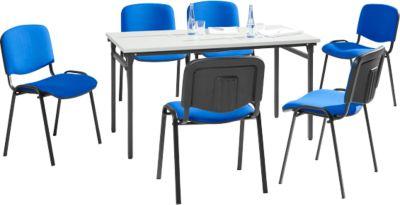 Complete aanbieding inklapbare tafel + 6 stoelen ISO BASIC, tafel b 1600 mm, stoelen stoffen bekleding