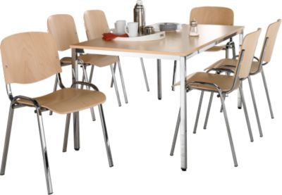 Complete aanbieding : tafel 1600 x 1800 mm + 6 x stapelstoel ISO Wood