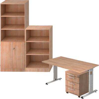 Complete aanbieding ULM: bureau + verrijdbare ladeblok + kantoorkast + open kast, notendecor