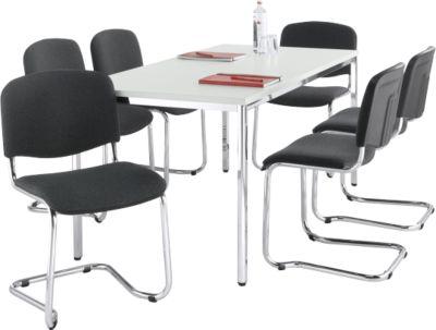 Complete aanbieding vergadertafel, 1600 x 800 mm en 6 x ISO Swing