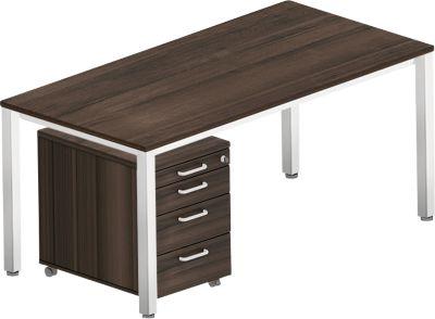 Complete set BEXXSTAR, bureautafel 1600 mm breed en verrijdbaar ladeblok, vierkante poot, walnootdecor