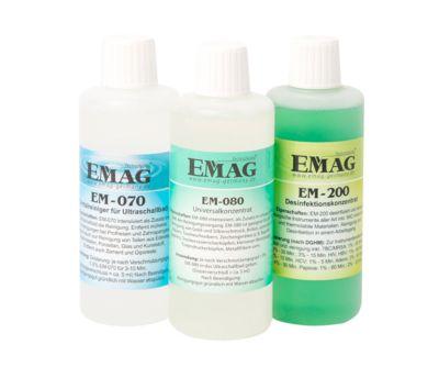 Complete set ultrasone reinigerconcentraten EMAG Home, 3 x 500 ml per stuk, voor privé gebruik.