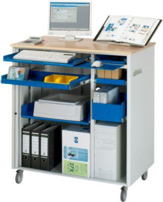 Computerstation adlatus Type 6001, B 1030 x D 660 x D 660 x H 1100 mm, verrijdbaar, met een lengte van 1,5 meter.