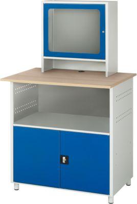 Computerstation type 6018, B 1100 x D 800 x H 1810 mm, stilstaand, met een vaste plaats.