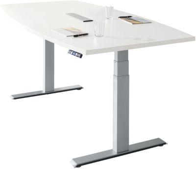 Conferentietafel MODENA FLEX, elektrisch in hoogte verstelbaar, bootvorm, T-poot, B 2000 mm + technische installatie, wit