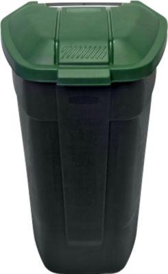 Container mit Rädern, anthrazit, Deckel grün