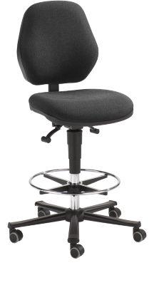 COUNTER BASIC werkstoel, met zit-stop-wieltjes, antraciet