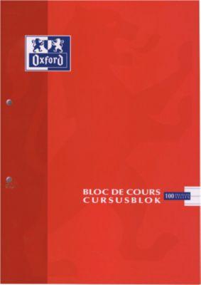 Cursusblokken met blauwe marge, 90 g/m², 100 vel, gelijnd, set van 5