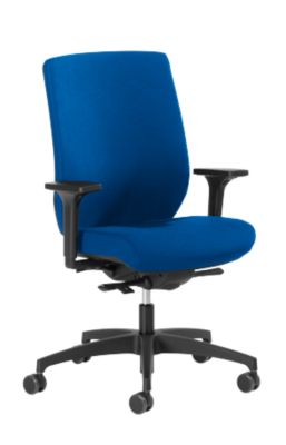 Dauphin Bürostuhl SHAPE 29675, Synchronmechanik, mit Armlehnen, Lordosenstütze, blau