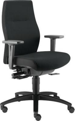 Dauphin Bürostuhl SHAPE XTL, Synchronmechanik , mit Armlehnen, Sitzzeit 8+ Stunden, Rollen für Teppich, schwarz