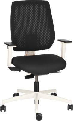 Dauphin Bürostuhl SPEED-O, Synchronmechanik, mit Armlehnen, Rückenlehne mit Synchro-Relax-Automatic, Gestell weiß, schwarz