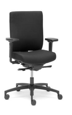 Dauphin bureaustoel @Just Magic2 NPR-1813, met armleuningen, synchroonmechanisme, contouren van de zitting, lendensteun, zwart/zwart