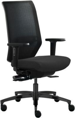 DAUPHIN SHAPE MESH bureaustoel, met armleuningen, voor tapijtvoeren, zwart
