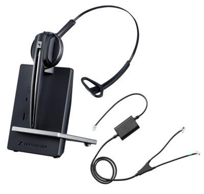 DECT-Headset Sennheiser D 10 Phone, schnurlos/monaural, mit Telefonadapter CEHS-AV04, 55 m Reichweite