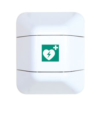 Defibrillator-Schrank help, ABS/PMMA, beidseitig zu öffnen, B 193,7/311x T 179 x H 197 mm, Aufkleber