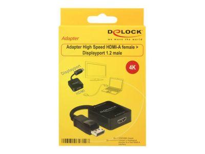 DeLOCK Adapter High Speed HDMI-A female > Displayport 1.2 male - Videokonverter - Schwarz