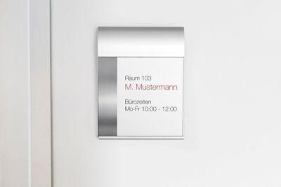Design deurbordje, zilver.