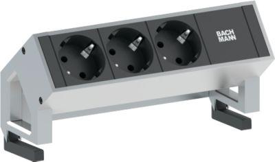 Desk 2 m. 3 stopcontacten met randaarde, aluminium