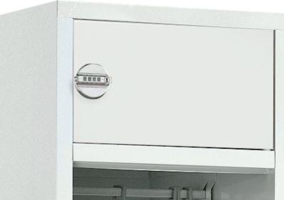 Deur met slot WT-3K, opzet voor brandweer-garderobekast, cijfercombinatieslot, lichtgrijs (RAL 7035)
