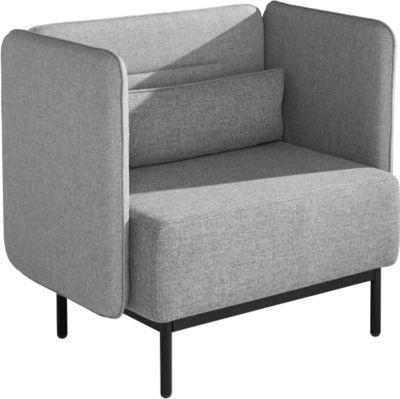 Dialog zetel, extra breed, met gestoffeerde zij- en rugpanelen, met kussens, mineraalgrijs