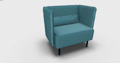 Dialog zetel, extra breed, met gestoffeerde zij- en rugpanelen, met kussens, waterblauw