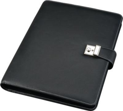 Dokumentenmappe, DIN A4 Format, mit Schloss, aus Kunststoff, mit 4-Ringmechanik