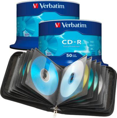 Doppelpack Verbatim CD- R, 50er-Spindel + CD-/DVD-Tasche, gratis