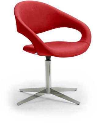 Draaifauteuil SAMBA, belastbaar tot 200 kg, fauteuil, rood