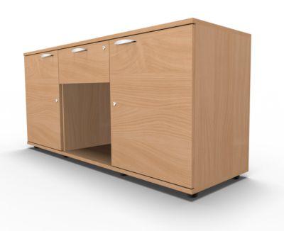 Dressoir, 2 deuren + lade, afsluitbaar, spaanplaat, B 1500 x D 420 x H 663 mm, beukenhout, 2 deuren + lade, afsluitbaar.