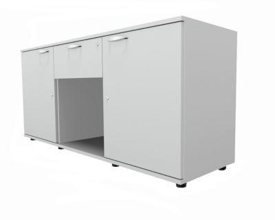 Dressoir, 2 deuren + lade, afsluitbaar, spaanplaat, B 1500 x D 420 x H 663 mm, lichtgrijs, met 2 deuren + lade.
