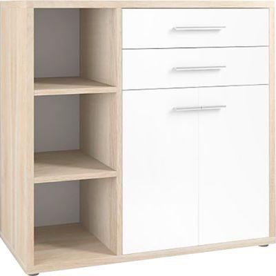 Dressoircombinatiespeler, 3 legplanken, 2 laden, 2 deuren, eiken/wit glas, 3 legplanken, 2 laden, 2 deuren, eiken/wit glas