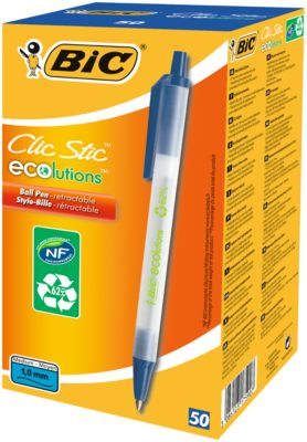 Druckkugelschreiber BIC® ECOlutions® Clic Stic, 0,4 mm, recycelt, blau, 50 Stück
