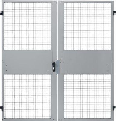 Dubbele deuren, voor scheidingswandsysteem met gaas, B 2000 x H 2070 mm, licht zilver.