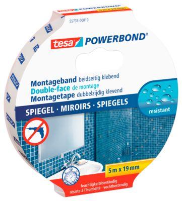 Dubbelzijdige kleefband tesa Powerbond®, 5 m x 19 mm, voor binnenspiegels tot 700 x 700 mm.