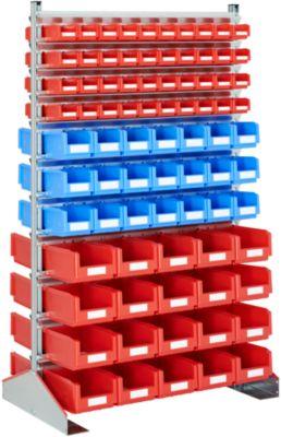 Dubbelzijdige staande plank, B 1130 x D 700 x H 1885 mm, 80 x 0,7 l, rood + 42 x 3 l, blauw + 40 x 7,5 l, rood, met een lengte van 1,5 meter.