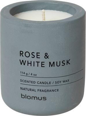 Duftkerze Blomus FRAGA, Flintstone, umweltfreundliches Sojawachs, Duft Rose & White Musk, klein Ø 65 x H 80 mm