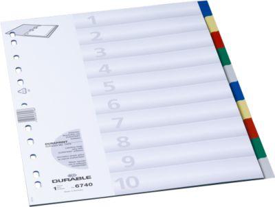 DURABLE Gekleurde tabbladen  PP, A4, 10 delig