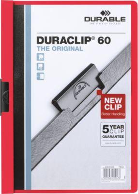 DURABLE Klemmmappen DURACLIP, DIN A4, Kunststoff, mit Clip, rot