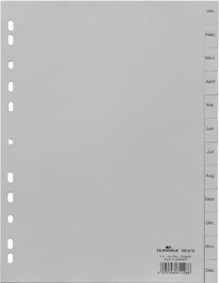 DURABLE kunststof tabbladen, A4, Jan.-Dez., grijs