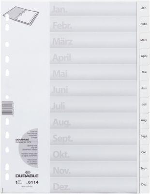 DURABLE kunststof tabbladen, A4, Jan-Dez, wit