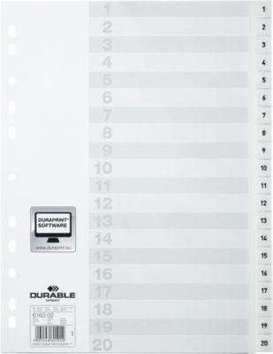 DURABLE Kunststoffregister, A4 hoch, Zahlen 1-20, weiß